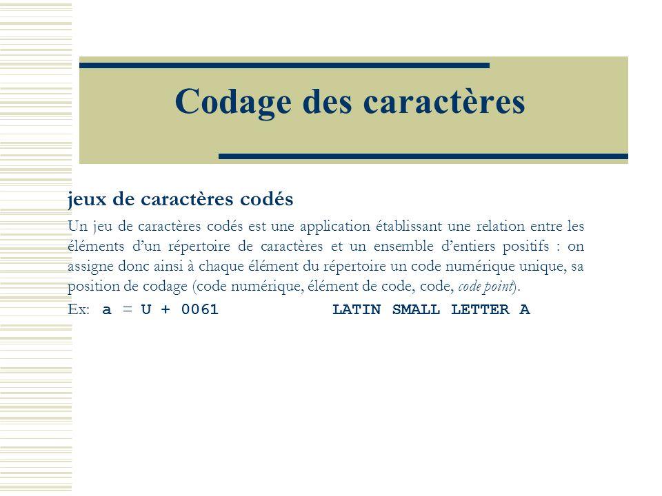 Codage des caractères jeux de caractères codés Un jeu de caractères codés est une application établissant une relation entre les éléments dun répertoire de caractères et un ensemble dentiers positifs : on assigne donc ainsi à chaque élément du répertoire un code numérique unique, sa position de codage (code numérique, élément de code, code, code point).