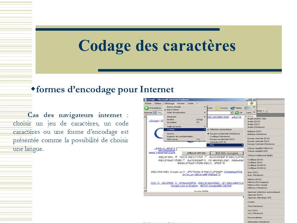 Codage des caractères formes dencodage pour Internet Cas des navigateurs internet : choisir un jeu de caractères, un code caractères ou une forme dencodage est présentée comme la possibilité de choisir une langue.