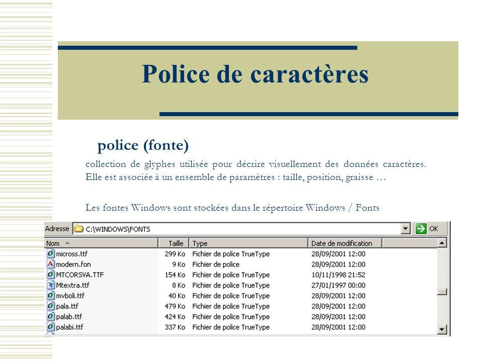 Police de caractères police (fonte) collection de glyphes utilisée pour décrire visuellement des données caractères. Elle est associée à un ensemble d