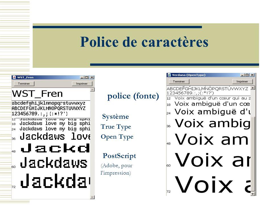 Police de caractères police (fonte) Système True Type Open Type PostScript (Adobe, pour limpression)