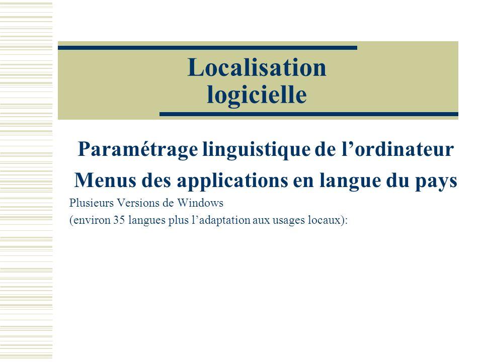 Localisation logicielle Paramétrage linguistique de lordinateur Menus des applications en langue du pays Plusieurs Versions de Windows (environ 35 langues plus ladaptation aux usages locaux):
