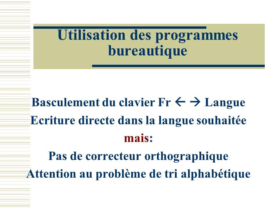Utilisation des programmes bureautique Basculement du clavier Fr Langue Ecriture directe dans la langue souhaitée mais: Pas de correcteur orthographiq