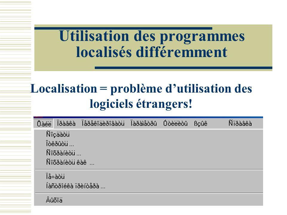 Utilisation des programmes localisés différemment Localisation = problème dutilisation des logiciels étrangers!