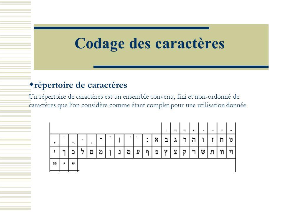 Codage des caractères répertoire de caractères Un répertoire de caractères est un ensemble convenu, fini et non-ordonné de caractères que lon considère comme étant complet pour une utilisation donnée