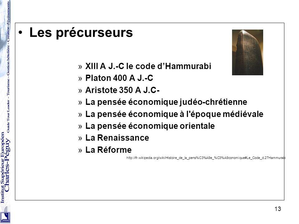 13 Les précurseurs »XIII A J.-C le code dHammurabi »Platon 400 A J.-C »Aristote 350 A J.C- »La pensée économique judéo-chrétienne »La pensée économiqu