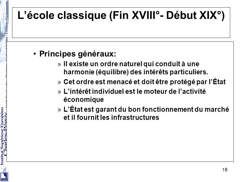 16 Lécole classique (Fin XVIII°- Début XIX°) Principes généraux: »Il existe un ordre naturel qui conduit à une harmonie (équilibre) des intérêts parti