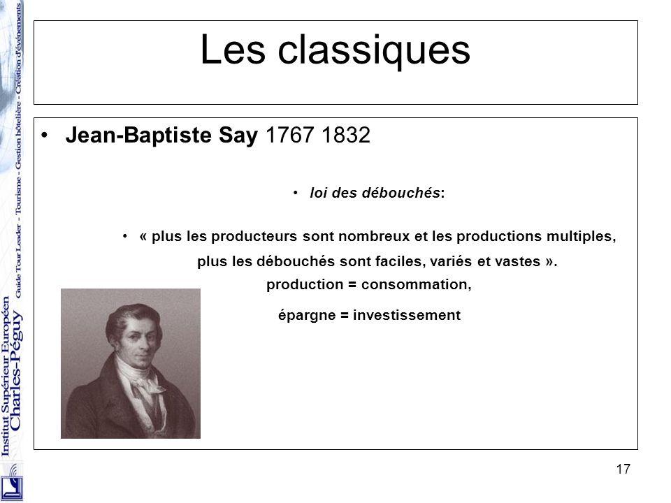 17 Les classiques Jean-Baptiste Say 1767 1832 loi des débouchés: « plus les producteurs sont nombreux et les productions multiples, plus les débouchés