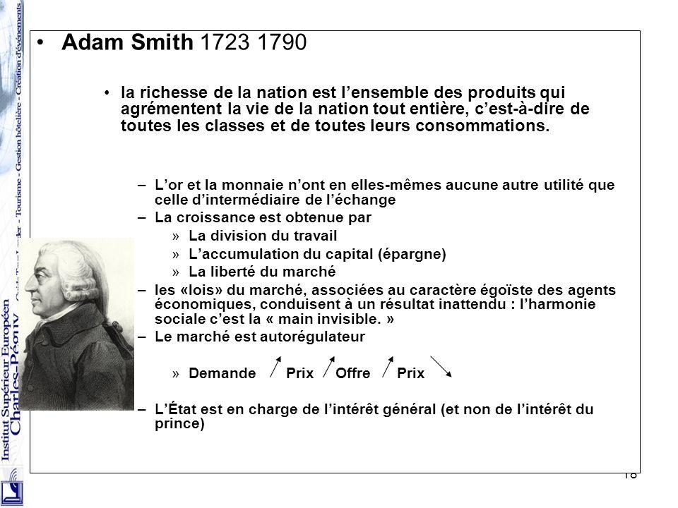 18 Adam Smith 1723 1790 la richesse de la nation est lensemble des produits qui agrémentent la vie de la nation tout entière, cest-à-dire de toutes le