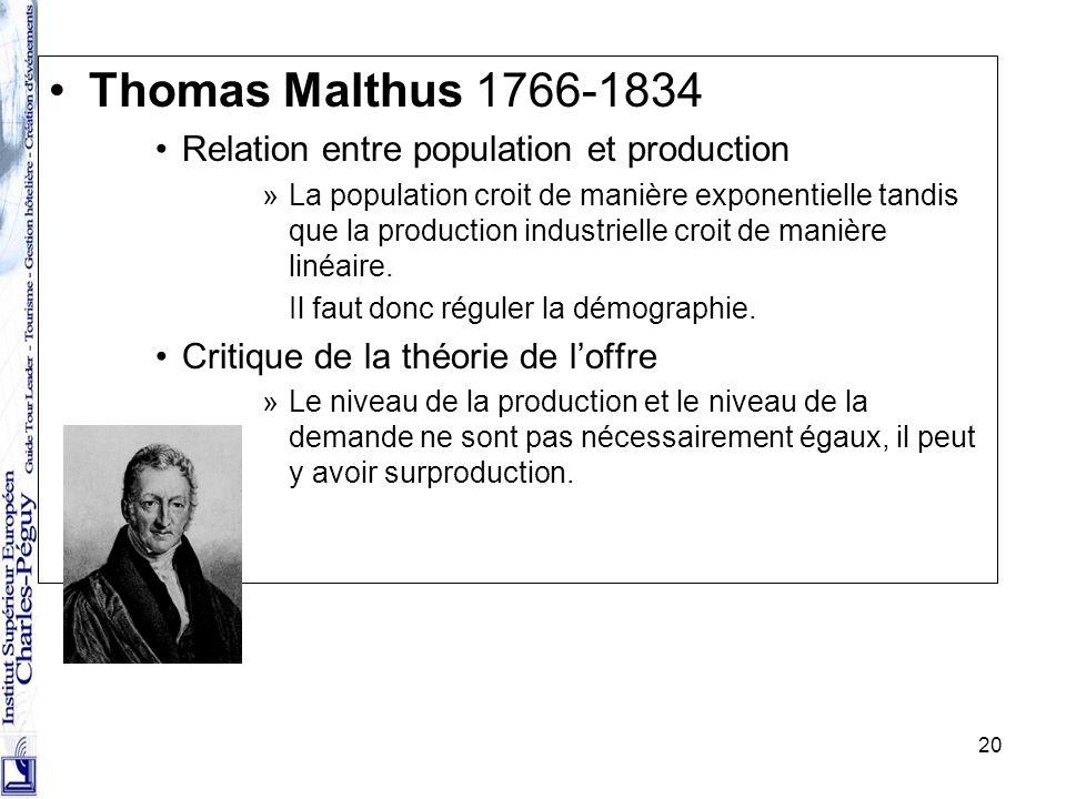 20 Thomas Malthus 1766-1834 Relation entre population et production »La population croit de manière exponentielle tandis que la production industriell
