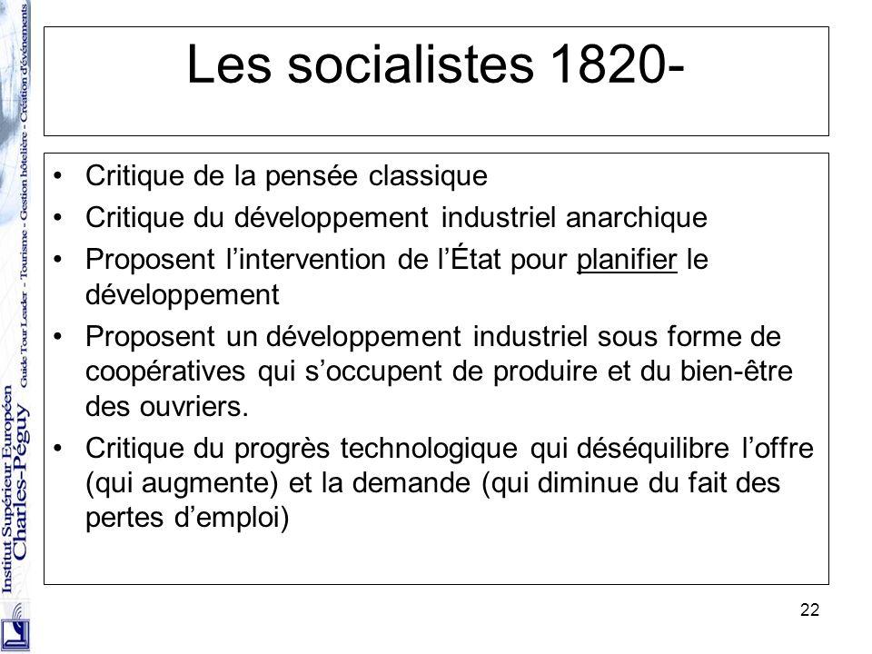22 Les socialistes 1820- Critique de la pensée classique Critique du développement industriel anarchique Proposent lintervention de lÉtat pour planifi