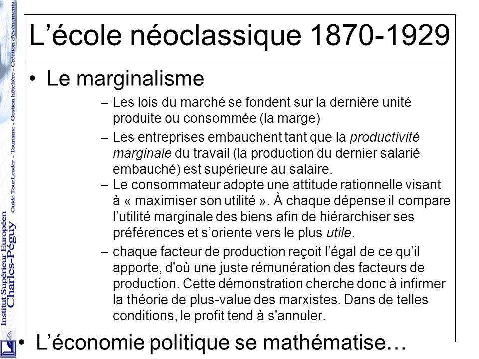 25 Lécole néoclassique 1870-1929 Le marginalisme –Les lois du marché se fondent sur la dernière unité produite ou consommée (la marge) –Les entreprise