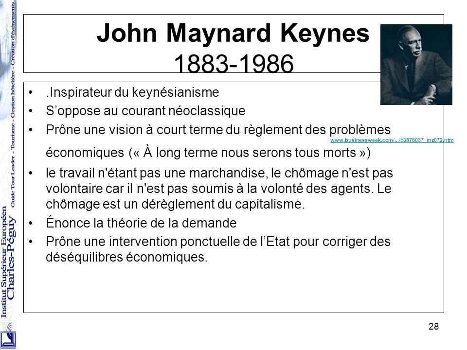 28 John Maynard Keynes 1883-1986.Inspirateur du keynésianisme Soppose au courant néoclassique Prône une vision à court terme du règlement des problème