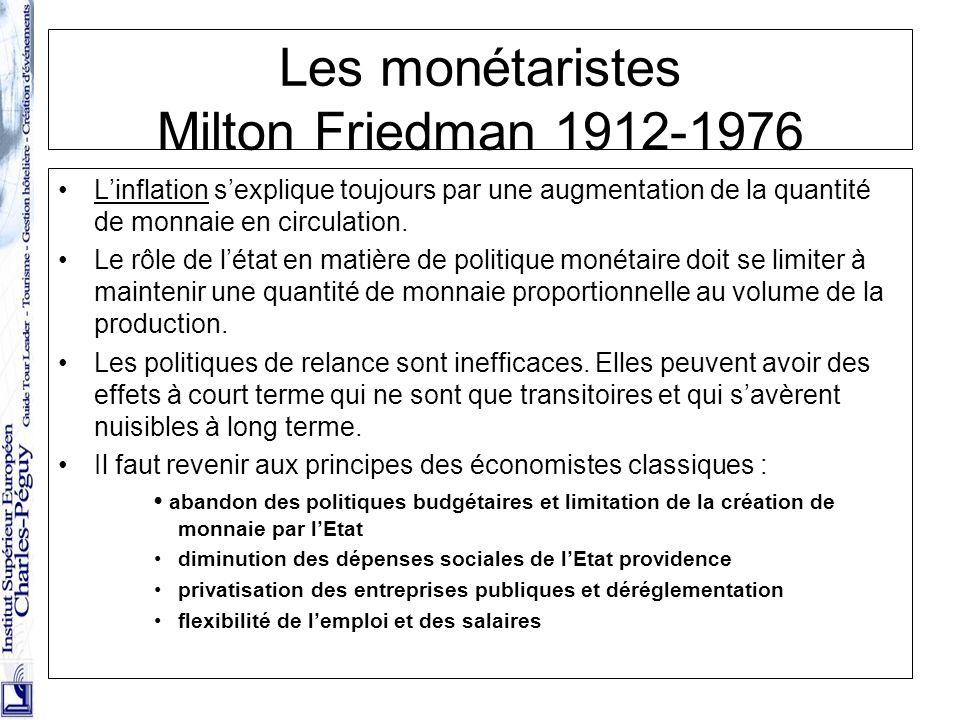 29 Les monétaristes Milton Friedman 1912-1976 Linflation sexplique toujours par une augmentation de la quantité de monnaie en circulation. Le rôle de