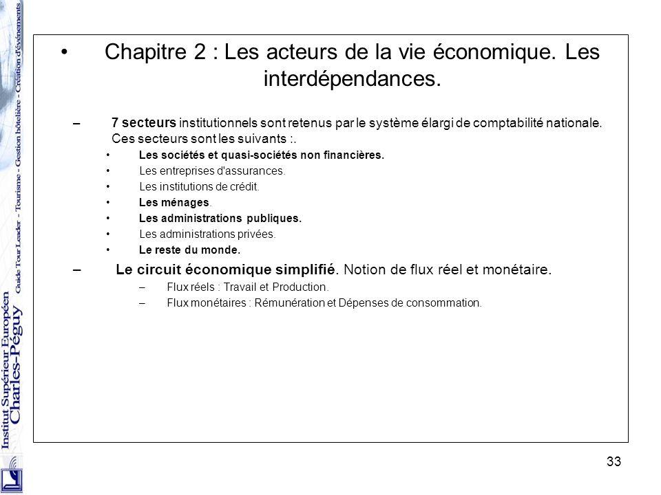 33 Chapitre 2 : Les acteurs de la vie économique. Les interdépendances. –7 secteurs institutionnels sont retenus par le système élargi de comptabilité