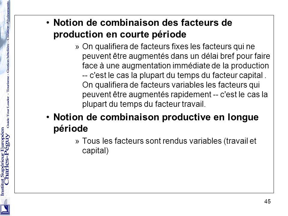 45 Notion de combinaison des facteurs de production en courte période »On qualifiera de facteurs fixes les facteurs qui ne peuvent être augmentés dans