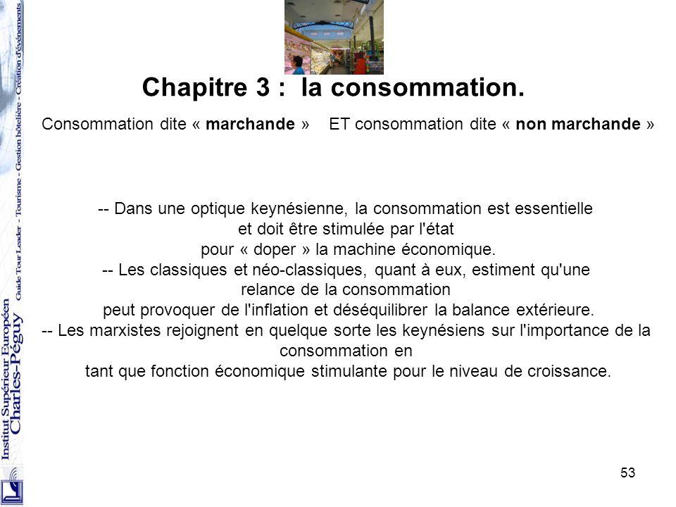 53 Chapitre 3 : la consommation. Consommation dite « marchande »ET consommation dite « non marchande » -- Dans une optique keynésienne, la consommatio