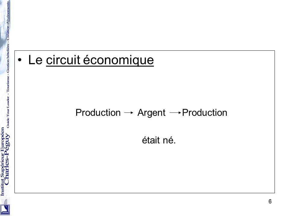 6 Le circuit économique Production Argent Production était né.