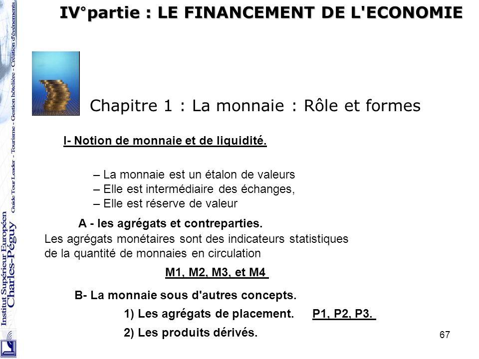67 IV°partie : LE FINANCEMENT DE L'ECONOMIE Chapitre 1 : La monnaie : Rôle et formes I- Notion de monnaie et de liquidité. – La monnaie est un étalon