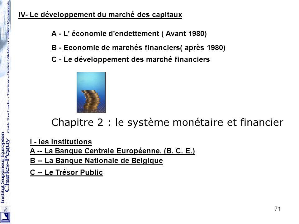 71 IV- Le développement du marché des capitaux A - L' économie d'endettement ( Avant 1980) B - Economie de marchés financiers( après 1980) C - Le déve