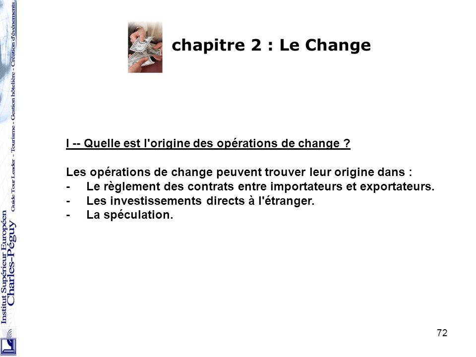 72 chapitre 2 : Le Change I -- Quelle est l'origine des opérations de change ? Les opérations de change peuvent trouver leur origine dans : - Le règle