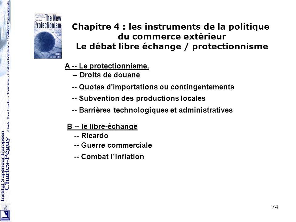 74 Chapitre 4 : les instruments de la politique du commerce extérieur Le débat libre échange / protectionnisme A -- Le protectionnisme. -- Droits de d