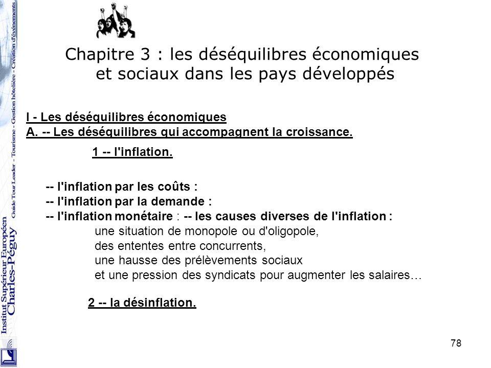 78 I - Les déséquilibres économiques A. -- Les déséquilibres qui accompagnent la croissance. Chapitre 3 : les déséquilibres économiques et sociaux dan