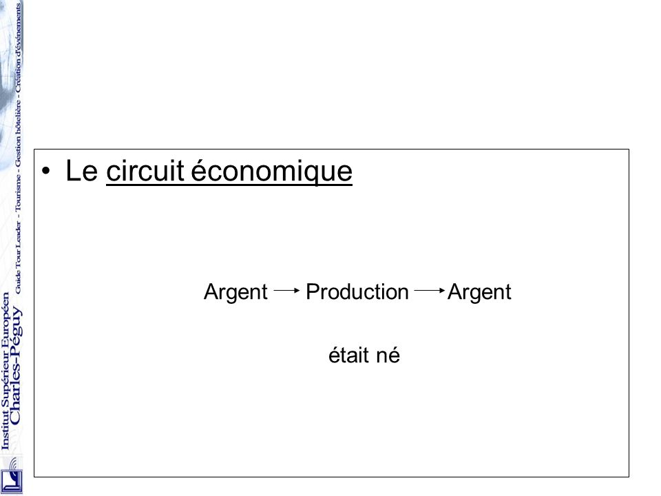 8 Le circuit économique Argent Production Argent était né