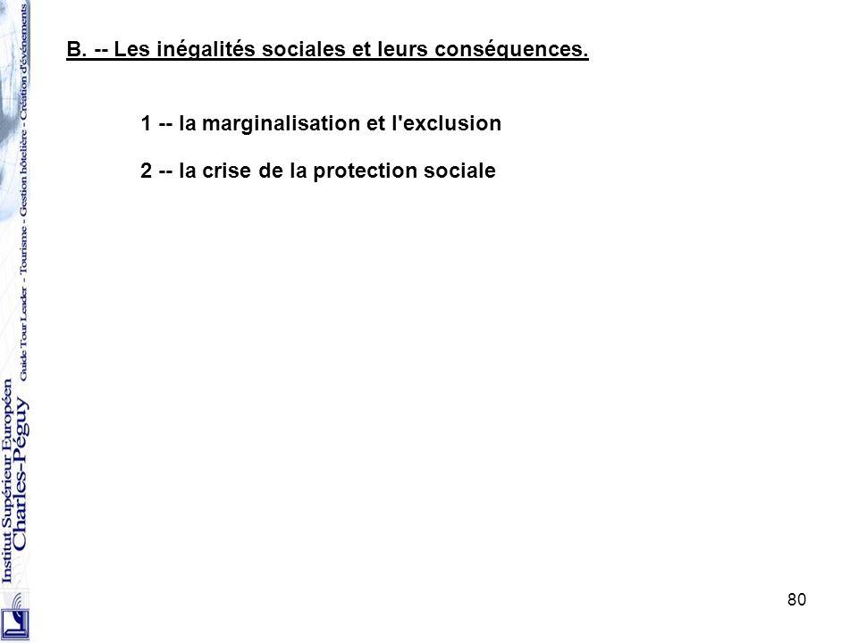 80 1 -- la marginalisation et l'exclusion B. -- Les inégalités sociales et leurs conséquences. 2 -- la crise de la protection sociale