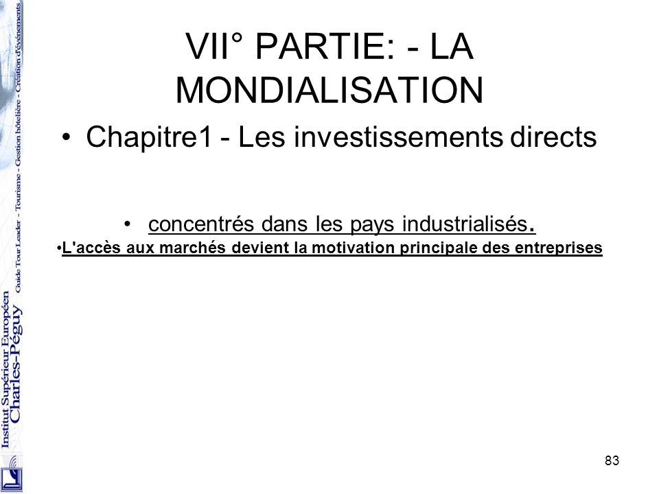 83 VII° PARTIE: - LA MONDIALISATION Chapitre1 - Les investissements directs concentrés dans les pays industrialisés. L'accès aux marchés devient la mo