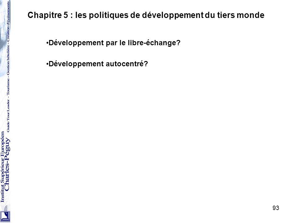 93 Chapitre 5 : les politiques de développement du tiers monde Développement par le libre-échange? Développement autocentré?