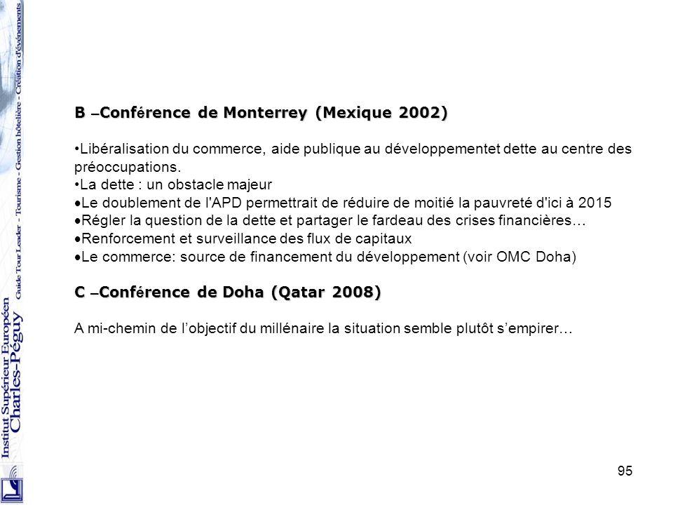 95 B – Conf é rence de Monterrey (Mexique 2002) Libéralisation du commerce, aide publique au développementet dette au centre des préoccupations. La de