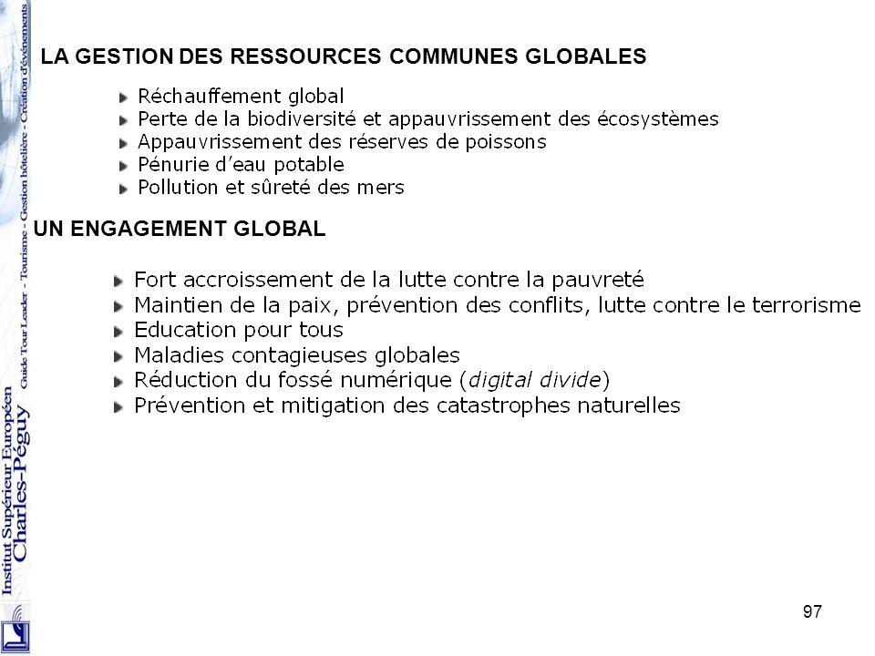 97 LA GESTION DES RESSOURCES COMMUNES GLOBALES UN ENGAGEMENT GLOBAL