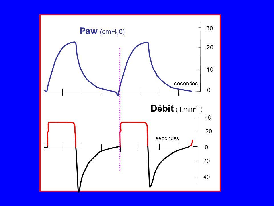 Paw (cmH 2 0) secondes 20 40 20 30 20 0 0 Débit ( l.min -1 ) 10 Paw (cmH 2 0) secondes 20 40 20 30 20 0 0 Débit ( l.min -1 ) 10