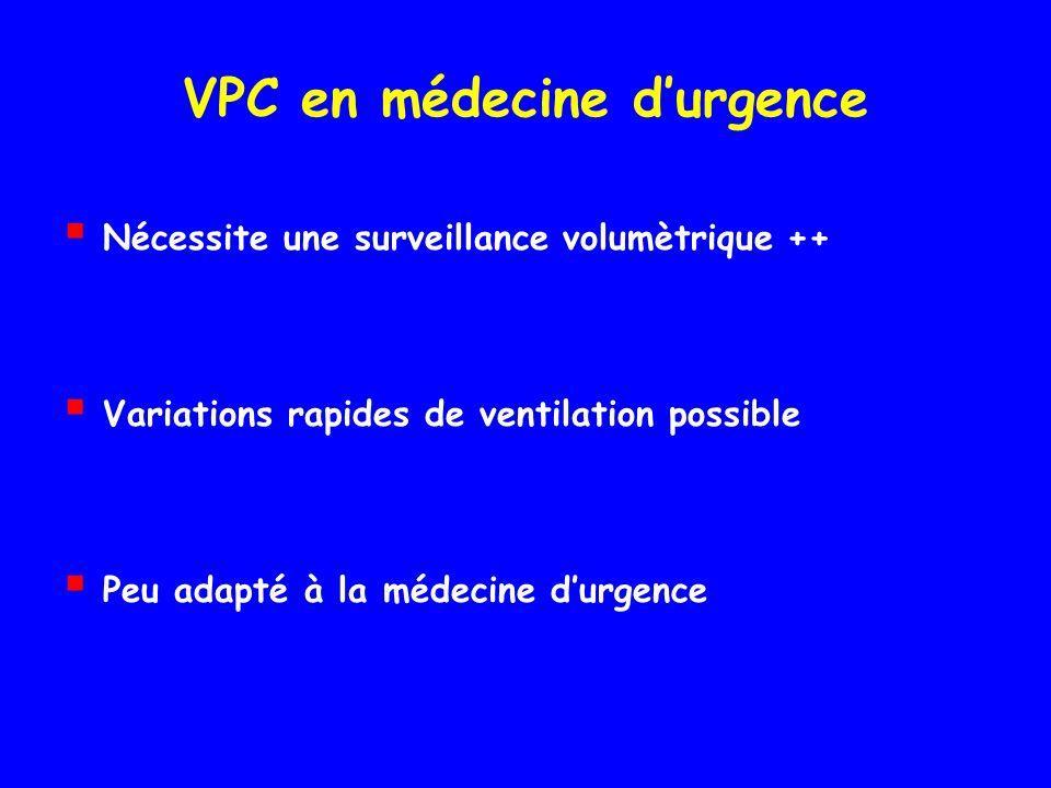 VPC en médecine durgence Nécessite une surveillance volumètrique ++ Variations rapides de ventilation possible Peu adapté à la médecine durgence
