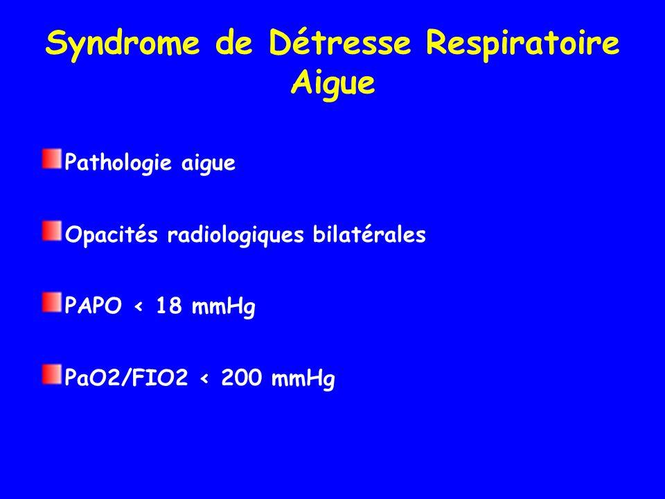 Syndrome de Détresse Respiratoire Aigue Pathologie aigue Opacités radiologiques bilatérales PAPO < 18 mmHg PaO2/FIO2 < 200 mmHg