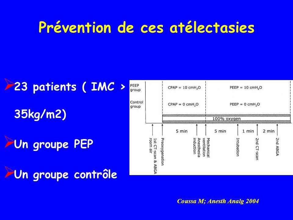 Prévention de ces atélectasies 23 patients ( IMC > 35kg/m2) Un groupe PEP Un groupe contrôle Coussa M; Anesth Analg 2004