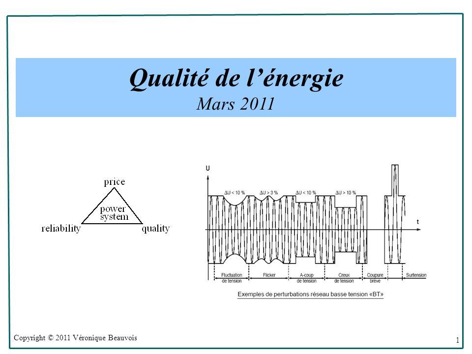 Copyright © 2011 Véronique Beauvois 1 Qualité de lénergie Mars 2011