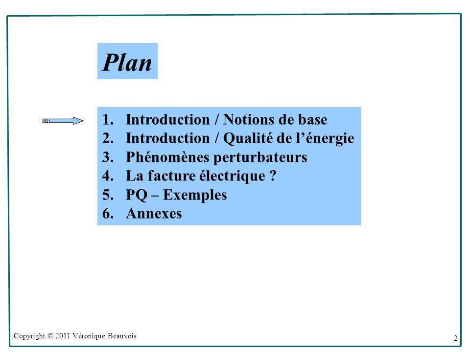Copyright © 2011 Véronique Beauvois 2 Plan 1.Introduction / Notions de base 2.Introduction / Qualité de lénergie 3.Phénomènes perturbateurs 4.La facture électrique .