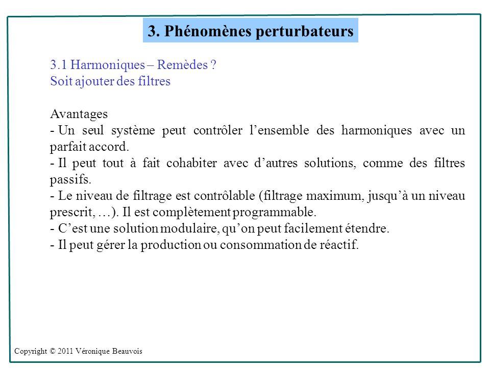 Copyright © 2011 Véronique Beauvois 3.Phénomènes perturbateurs 3.1 Harmoniques – Remèdes .