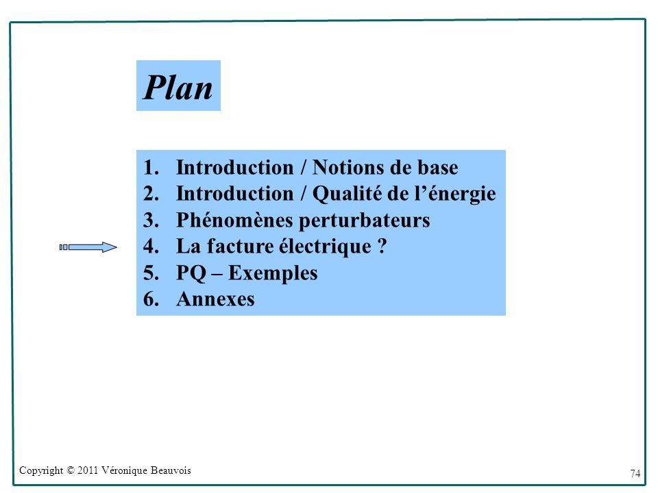 Copyright © 2011 Véronique Beauvois 74 Plan 1.Introduction / Notions de base 2.Introduction / Qualité de lénergie 3.Phénomènes perturbateurs 4.La facture électrique .