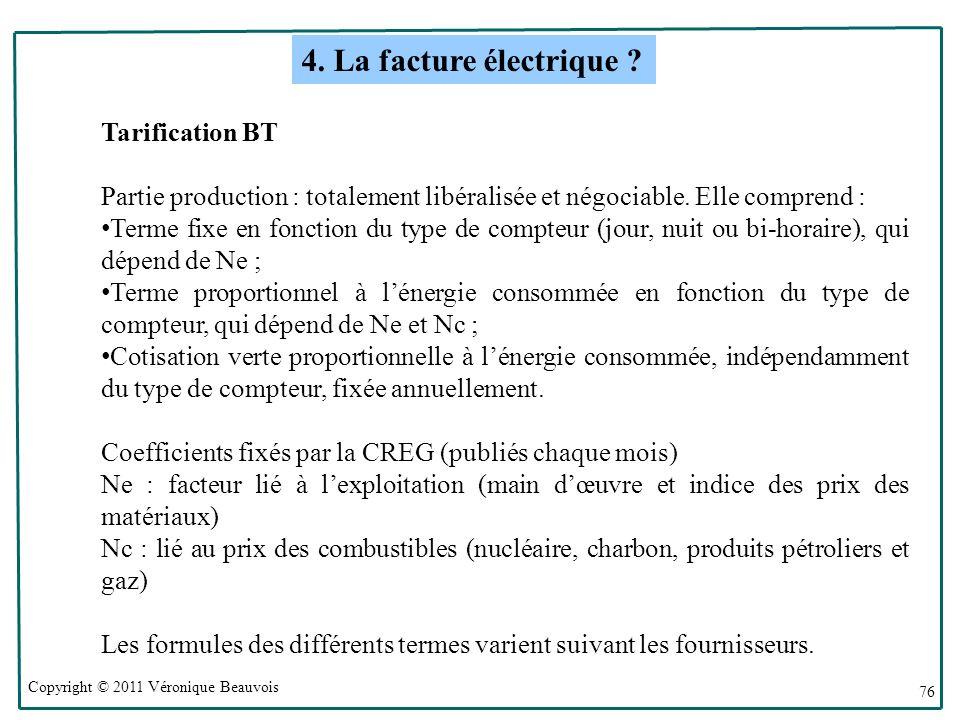 Copyright © 2011 Véronique Beauvois 76 Tarification BT Partie production : totalement libéralisée et négociable.