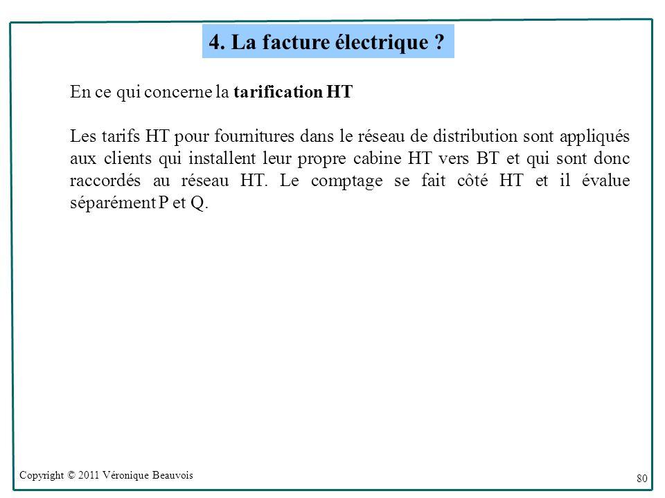 Copyright © 2011 Véronique Beauvois 80 En ce qui concerne la tarification HT Les tarifs HT pour fournitures dans le réseau de distribution sont appliqués aux clients qui installent leur propre cabine HT vers BT et qui sont donc raccordés au réseau HT.