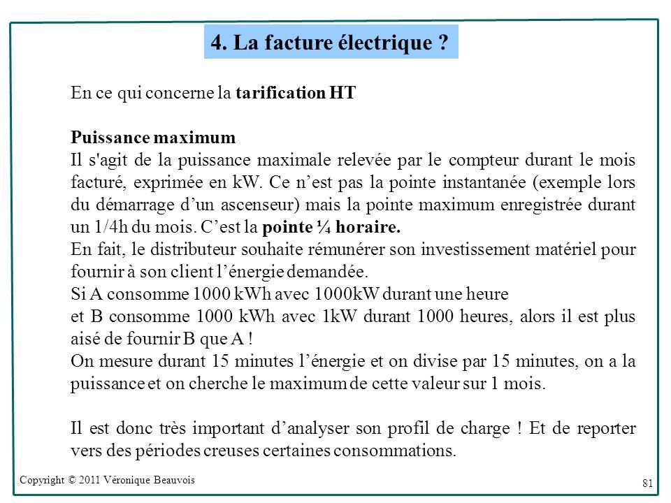 Copyright © 2011 Véronique Beauvois 81 En ce qui concerne la tarification HT Puissance maximum Il s agit de la puissance maximale relevée par le compteur durant le mois facturé, exprimée en kW.