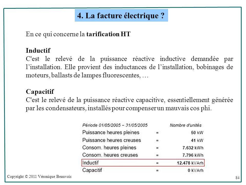 Copyright © 2011 Véronique Beauvois 84 En ce qui concerne la tarification HT Inductif C est le relevé de la puissance réactive inductive demandée par linstallation.