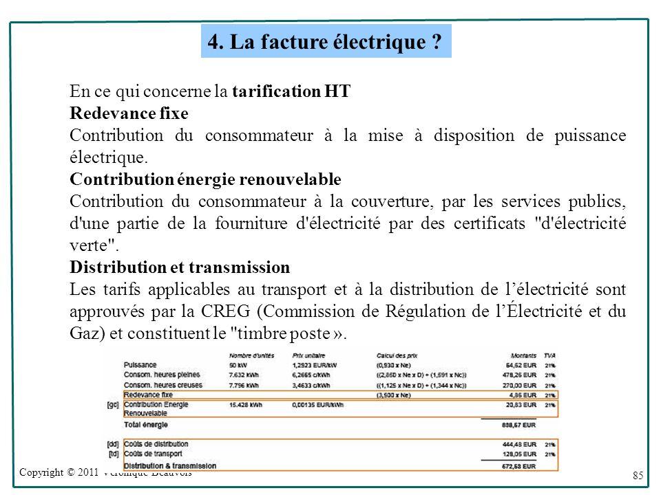 Copyright © 2011 Véronique Beauvois 85 En ce qui concerne la tarification HT Redevance fixe Contribution du consommateur à la mise à disposition de puissance électrique.