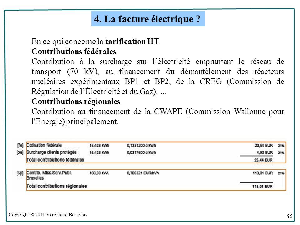Copyright © 2011 Véronique Beauvois 86 En ce qui concerne la tarification HT Contributions fédérales Contribution à la surcharge sur lélectricité empruntant le réseau de transport (70 kV), au financement du démantèlement des réacteurs nucléaires expérimentaux BP1 et BP2, de la CREG (Commission de Régulation de lÉlectricité et du Gaz),...