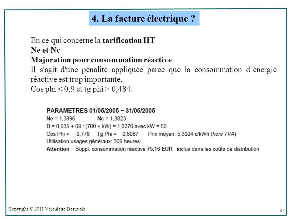Copyright © 2011 Véronique Beauvois 87 En ce qui concerne la tarification HT Ne et Nc Majoration pour consommation réactive Il s agit d une pénalité appliquée parce que la consommation dénergie réactive est trop importante.