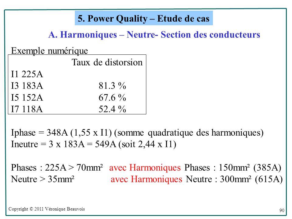 Copyright © 2011 Véronique Beauvois 90 Exemple numérique Taux de distorsion I1 225A I3 183A81.3 % I5 152A67.6 % I7 118A52.4 % Iphase = 348A (1,55 x I1) (somme quadratique des harmoniques) Ineutre = 3 x 183A = 549A (soit 2,44 x I1) Phases : 225A > 70mm² avec Harmoniques Phases : 150mm² (385A) Neutre > 35mm² avec Harmoniques Neutre : 300mm² (615A) 5.