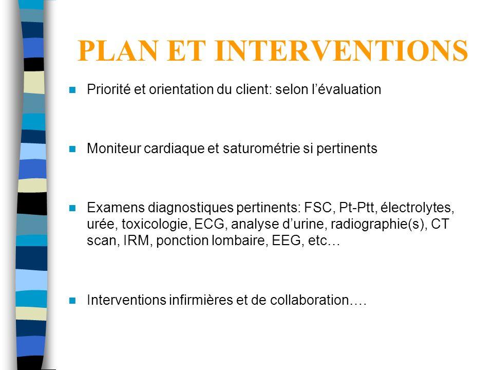 PLAN ET INTERVENTIONS Priorité et orientation du client: selon lévaluation Moniteur cardiaque et saturométrie si pertinents Examens diagnostiques pert