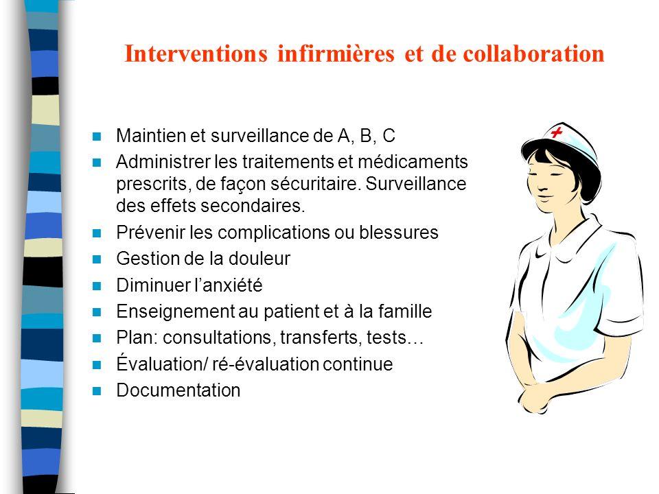 Interventions infirmières et de collaboration Maintien et surveillance de A, B, C Administrer les traitements et médicaments prescrits, de façon sécur